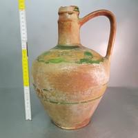 Sárga, zöld mázfoltos kerámia korsó (829)