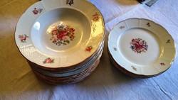 18 db-os Thun virágos csodaszép, kosármintás porcelán tányér készlet, vitrin állapot