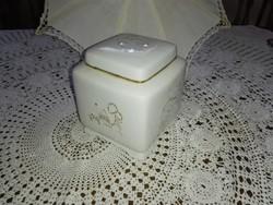 Fehér arany porcelán teafű tartó,cukortartó vagy kávétartó.