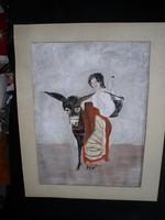 Olasz lány szamárral, 40 x 30 cm, papír, guache-akvarell, paszpartuval, keretezés nélkül