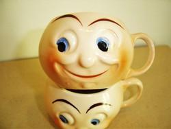 2 db art deco fajansz csésze