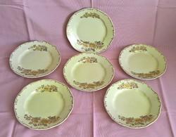 Gyönyörű, különleges mintájú Zsolnay desszertes tányérok 6db
