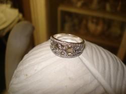 Divat ékszer ezüst színű  GYŰRŰ diadém fazonu gyűrű 9-es méret