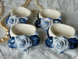 Szalvétagyűrű kék virágos kerámia 4 db + 1 ajándék