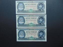 2 darab 20 forint 1969 sorszámkövető + 1 darab sorszám közeli bankjegy