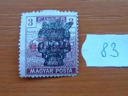 3 FILLÉR 1920 Búzakalász felülnyomat a Magyar Tanácsköztársaság Magyar Posta Arató 83#