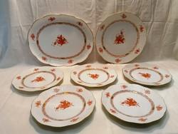 Herendi porcelán Apponyi mintás Orange tányérok tálak 7 db