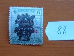6 FILLÉR 1920 Búzakalász felülnyomat a Magyar Tanácsköztársaság Magyar Posta Arató 88#