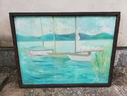 Korényi Attila kortárs festőművész balatoni kikötő vitorlás tájkép csendélet nagyméretű olajfestmény