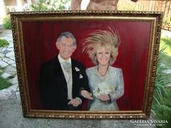 Károly herceg és Kamilla o-v festmény 92x114 cm