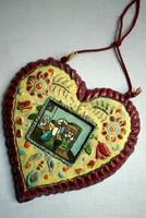 Pogány Vilmos kerámia antik képzőművészeti és néprajzi dísztárgy tükrös mézeskalács szív