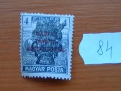 4 FILLÉR 1920 Búzakalász felülnyomat a Magyar Tanácsköztársaság Magyar Posta Arató 84#