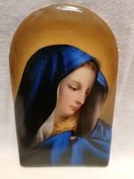 Kézzel festett vallásos jelzett porcelán plakett