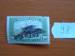 1.40 KORONA 1920 Búzakalász - felülnyomat Magyar Tanácsköztársaság Magyar Posta Parlament 98#