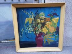 Virágcsendélet olaj-farost festmény