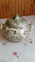Folk art ceramic rarity: continuous glazed bonbonier