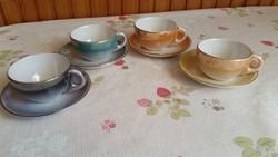 Négyszínű kávéscsészék-Iparművész kerámia