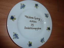 Hollóházi porcelán tányér Moldova Györgynek dedikálva, eredeti pecsétes 2009