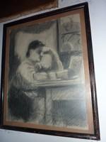 Bernáth Aurél: Sári a szalonban, eredeti dedikált szénrajz, 1915
