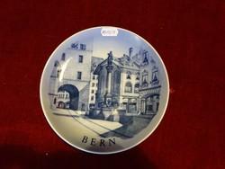 ROYAL KOPPENHAGEN dán porcelán falitányér. Bern svájci tájképpel.