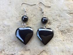 Hematit ásvány  fekete szivecske fityegős fülbevaló