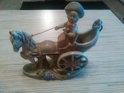 Nagyon szép és régi Német Lippelsdorfi porcelán lovas hintó női hajtóval