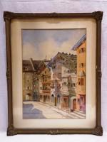 M. Balla Margit 1931 utcakép akvarell festmény
