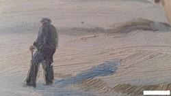 A. Wennerberg XIX.sz. Téli táj olajfestmény