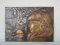 Réz kép falidísz lány naplementében