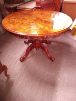 Bécsi barok intarziás kinyitható nappali asztal 120x80cm