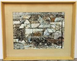 Bencze László (1907 - 1992) Házak c. festménye 53x43cm EREDETI GARANCIÁVAL !!!