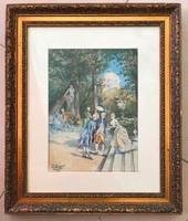 Antik francia akvarell festmény 1896-ból.