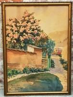 Tibai Takács János (1876 - 1943) Tabán Holdvilág utca 1933 festménye 54x40cm EREDETI GARANCIÁVAL !!!