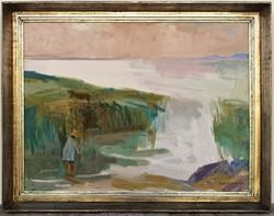 Szentiványi Lajos (1909 - 1973) Balatoni horgász c olajfestménye 90x70cm EREDETI GARANCIÁVAL
