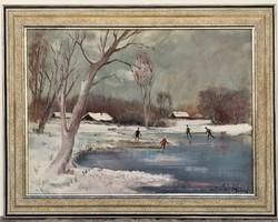 Gádor Emil (1911 - 1998) Téli táj c. Képcsarnokos olajfestménye 96x76cm EREDETI GARANCIÁVAL