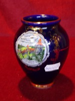 KHM Bavaria porcelán  kobalt kék váza, ESSLINGEN tájképpel, 11 cm magas.