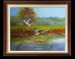 Tóra szálló kacsapár -- Kortárs minőségi festmény
