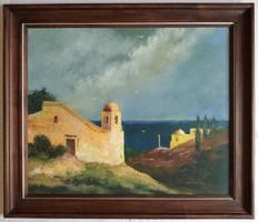 """Gádor Emil """"Izraeli táj"""" c. olajfestmény eredeti keretében ingyenes házhoz szállítással"""