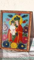 Üvegre festett régi ikon kép