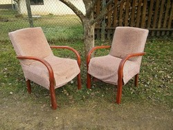 Art deco hajlított fa karfás rugós fotel eladó 6990 /db áron