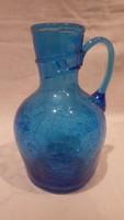 Gyönyörű nyakontekert kék üveg kiöntő