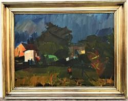 Id. Benedek Jenő (1906 - 1987) Vihar előtt c. Képcsarnokos olajfestménye 95x75cm EREDETI GARANCIÁVAL