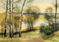 Altorjai 1964. Nyírfák a Folyóparton 48x37,5cm Akvarell Tájkép Vízpart