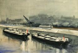 Altorjai 1961. Uszályok a Folyón 48x37,5cm Akvarell Kikötő Dokk