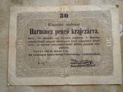 30 Pengő Krajcár 1849 Kossuth Bankó.