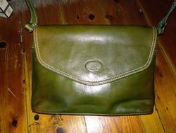 Zöld valódi bőr táska, női válltáska