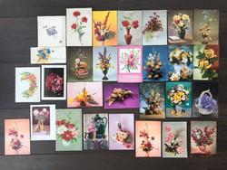 Régi virágos képeslap csomag (rózsa, szegfű, liliom stb.)