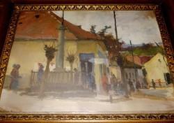 Várdeák Ferenc (1897-1971) Falurészlet festmény eredeti alkotás
