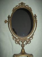 Régi réz barokk  asztali tükör 50 cm