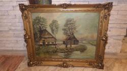 Kókai E. olaj-vászon életkép festmény blondel keretben 65x78 cm